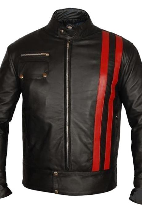 Black Biker Red Stripe Vintage Leather Jacket